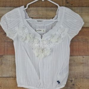 Abercrombie Kids Girl's Blouse White Size S Floral